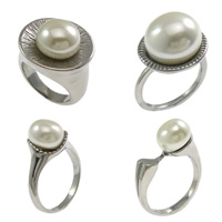 Stainless Steel Glass Pearl Finger Ring