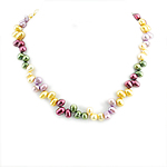Natural Freshwater Pearl Necklace Rice multi-colored 7-8mm Sold Per 17 Inch Strand