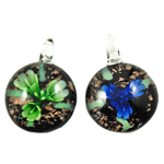 Inner Flower Lampwork Pendants, Coin, mixed colors, 35x12mm, Hole:Approx 7mm, 12PCs/Box, Sold By Box