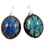 Inner Flower Lampwork Pendants, Oval, mixed colors, 28x34x12mm, Hole:Approx 7mm, 12PCs/Box, Sold By Box