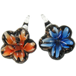 Inner Flower Lampwork Pendants, mixed colors, 34x31x11mm, Hole:Approx 7mm, 12PCs/Box, Sold By Box