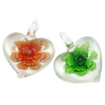 Inner Flower Lampwork Pendants, Heart, mixed colors, 38x33x11mm, Hole:Approx 7mm, 12PCs/Box, Sold By Box