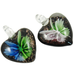 Inner Flower Lampwork Pendants, Heart, mixed colors, 32x31x16mm, Hole:Approx 8mm, 12PCs/Box, Sold By Box