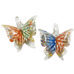 Inner Flower Lampwork Pendants, Butterfly, mixed colors, 40x43x14mm, Hole:Approx 8x7mm, 12PCs/Box, Sold By Box