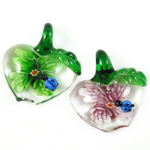 Inner Flower Lampwork Pendants, Apple, mixed colors, 33x28x13mm, Hole:Approx 7mm, 12PCs/Box, Sold By Box