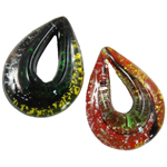 Fashion Lampwork Pendants, Teardrop, mixed colors, 40x53x14mm, Hole:Approx 24x10mm, 12PCs/Box, Sold By Box