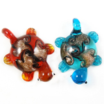 Gold Sand Lampwork Pendants, Turtle, mixed colors, 38x55x14mm, Hole:Approx 7mm, 12PCs/Box, Sold By Box