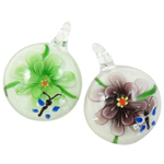 Inner Flower Lampwork Pendants, Coin, mixed colors, 32x32x11mm, Hole:Approx 11mm, 12PCs/Box, Sold By Box