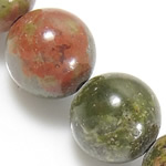 Natural Unakite Beads, Round, 12mm, Hole:Approx 1.2mm, Length:Approx 15.5 Inch, 10Strands/Lot, Approx 32PCs/Strand, Sold By Lot