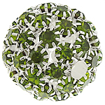 Rhinestone Brass Beads, Round, silver color plated, without troll & with rhinestone & hollow, green, nickel, lead & cadmium free, 26mm, Hole:Approx 4.8mm, Sold By PC