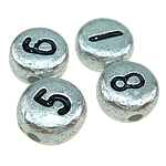 ABS Plastic Beads, mixed, silver, 7x4mm, Hole:Approx 1mm, 3500PCs/Bag, Sold By Bag