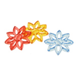 Transparent Acrylic Beads, Flower, translucent, mixed colors, 27.50x30x4mm, Hole:Approx 1.5mm, 283PCs/Bag, Sold By Bag