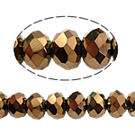 Rondelle Crystal Beads, antique brass color plated, imitation CRYSTALLIZED™ element crystal, Crystal Dorado, 3x4mm, Hole:Approx 1mm, Length:Approx 19 Inch, 10Strands/Bag, Approx 140PCs/Strand, Sold By Bag