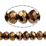 Kryształowe koraliki rondelle, Kryształ, Okrąg, imitacja kryształu CRYSTALLIZED™, Kryształ Dorado, 4x6mm, otwór:około 1mm, długość:około 19 cal, 10nici/torba, sprzedane przez torba