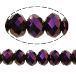 Rondelle Crystal Beads, imitation CRYSTALLIZED™ element crystal, metallic color plated, 8x10mm, Hole:Approx 1.5mm, Length:Approx 22 Inch, 10Strands/Bag, Sold By Bag