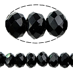 Rondelle Crystal Beads, imitation CRYSTALLIZED™ crystal, Jet, 6x8mm, Hole:Approx 1.5mm, Length:16 Inch, 10Strands/Bag, Sold By Bag