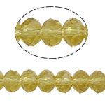 Rondelle Crystal Beads, imitation CRYSTALLIZED™ element crystal, Lt Topaz, 3x4mm, Hole:Approx 1mm, Length:Approx 19 Inch, 10Strands/Bag, Sold By Bag