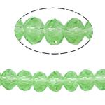 Kryształowe koraliki rondelle, Kryształ, Okrąg, imitacja kryształu CRYSTALLIZED™, peridot, 4x6mm, otwór:około 1mm, długość:około 18 cal, 10nici/torba, sprzedane przez torba