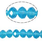 Kryształowe koraliki rondelle, Kryształ, Okrąg, imitacja kryształu CRYSTALLIZED™, akwamaryna, 8x10mm, otwór:około 1.5mm, długość:22 cal, 10nici/torba, sprzedane przez torba