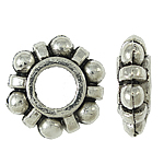 Zinc Alloy European Beads, Flower, antique silver color plated, nickel, lead & cadmium free, 11x4mm, Hole:Approx 5mm, Approx 840PCs/KG, Sold By KG