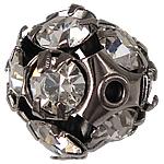 Rhinestone Brass Beads, Round, rack plating, with rhinestone, plumbum black, nickel, lead & cadmium free, 11x11mm, Hole:Approx 1.5mm, 50PCs/Bag, Sold By Bag
