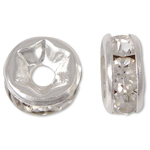 Rhinestone Spacers, Brass, silver color plated, with rhinestone, nickel, lead & cadmium free, 6x6x3mm, Hole:Approx 1mm, 100PCs/Bag, Sold By Bag