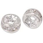 Rhinestone Spacers, Brass, silver color plated, with rhinestone, nickel, lead & cadmium free, 4x4x2mm, Hole:Approx 0.8mm, 100PCs/Bag, Sold By Bag