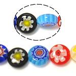 Бисер, выполненный в технике миллефиори, Миллефиори, Плоская круглая форма, разноцветный, 8x8x3.50mm, отверстие:Приблизительно 1mm, длина:Приблизительно 14.5 дюймовый, 10пряди/Лот, продается Лот