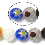 Millefiori Glass Beads, Round, mixed colors, 6mm, Hole:Approx 1mm, Length:Approx 14.5 Inch, 10Strands/Lot, Sold By Lot