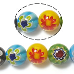 Millefiori Glass Beads, 12mm, Hole:Approx 1mm, Length:approx 14 Inch, 10Strands/Lot, Sold by Lot