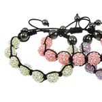 Resin Shamballa Bracelets, with Nylon Cord & Non-magnetic Hematite & Resin Rhinestone, woven, mixed colors, 12x12mm, Length:7 Inch, 10Strands/Bag, Sold By Bag