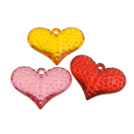 Acrylic Pendants, Heart, translucent, mixed colors, 37x27x11mm, Hole:Approx 2mm, 85PCs/Bag, Sold By Bag