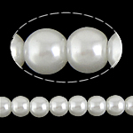 Glass Pearl Beads, Round, white, 8mm, Hole:Approx 1.5mm, Length:Approx 31 Inch, 10Strands/Bag, Approx 111Strands/Strand, Sold By Bag