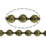 Brass Ball Chain, antique bronze color plated, nickel, lead & cadmium free, 3.20mm, Length:100 m, Sold By Lot