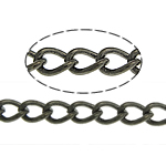 Brass Oval Chain, plumbum black color plated, twist oval chain, nickel, lead & cadmium free, 3.50x2.50x0.50mm, Length:100 m, Sold By Lot