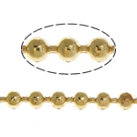 Brass Ball Chain, gold color plated, nickel, lead & cadmium free, 1.50mm, Length:100 m, Sold By Lot
