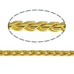 Brass Snake Chain, gold color plated, twist oval chain, nickel, lead & cadmium free, 1mm, Length:100 m, Sold By Lot