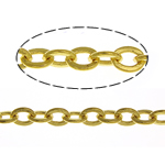 Brass Oval Chain, gold color plated, nickel, lead & cadmium free, 2.50x2x0.30mm, Length:100 m, Sold By Lot