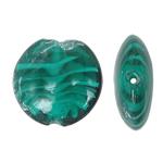 Wewnętrznie skręcone koraliki szklane, Lampwork, Płaskie koło, skręcany wewnętrznie, zielony, 28x12mm, otwór:około 2mm, 100komputery/torba, sprzedane przez torba