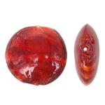 Wewnętrznie skręcone koraliki szklane, Lampwork, Płaskie koło, czerwony, 28x12mm, otwór:około 2mm, 100komputery/torba, sprzedane przez torba