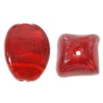 Wewnętrznie skręcone koraliki szklane, Lampwork, Owal, czerwony, 17x24mm, otwór:około 2mm, 100komputery/torba, sprzedane przez torba