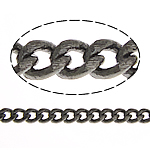 Brass Oval Chain, plumbum black color plated, curb chain, nickel, lead & cadmium free, 2x1.50x0.30mm, Length:100 m, Sold By Lot