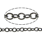 Brass Oval Chain, plumbum black color plated, nickel, lead & cadmium free, 2x1.70x0.30mm, Length:100 m, Sold By Lot