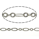 Brass Figaro Chain, platinum color plated, nickel, lead & cadmium free, 4.6x2.6x0.3mm, 2.7x2x0.3mm, Length:100 m, Sold By Lot