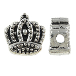 Zinc Alloy Jewelry Beads, Crown, antique silver color plated, nickel, lead & cadmium free, 12x13x7mm, Hole:Approx 3.5mm, Approx 500PCs/KG, Sold By KG