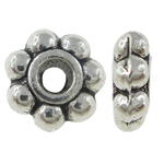 Zinc Alloy Spacer Beads Flower antique silver color plated nickel lead   cadmium free 5x2mm Hole:Approx 0.5mm Approx 6666PCs/KG
