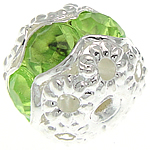 Rhinestone Brass Beads, Drum, silver color plated, with acrylic rhinestone & hollow, nickel, lead & cadmium free, 8.50x7.50mm, Hole:Approx 1.2mm, 100PCs/Bag, Sold By Bag