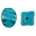 Wewnętrznie skręcone koraliki szklane, Lampwork, Owal, niebieski, 12x17mm, otwór:około 2mm, 100komputery/torba, sprzedane przez torba