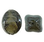 Wewnętrznie skręcone koraliki szklane, Lampwork, Owal, 12x17mm, otwór:około 2mm, 100komputery/torba, sprzedane przez torba