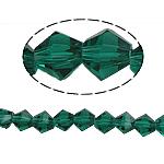 Bicone Crystal Beads, Kristal, gefacetteerde, Emerald, 6x6mm, Gat:Ca 1mm, Lengte:10.5 inch, 10strengen/Bag, Verkocht door Bag
